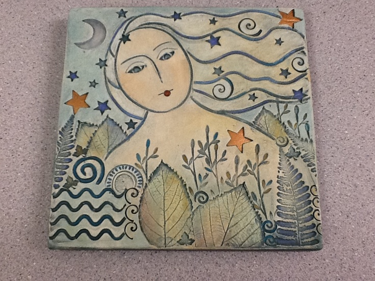 My 8x8 painted clay tile, by Sue Davis.