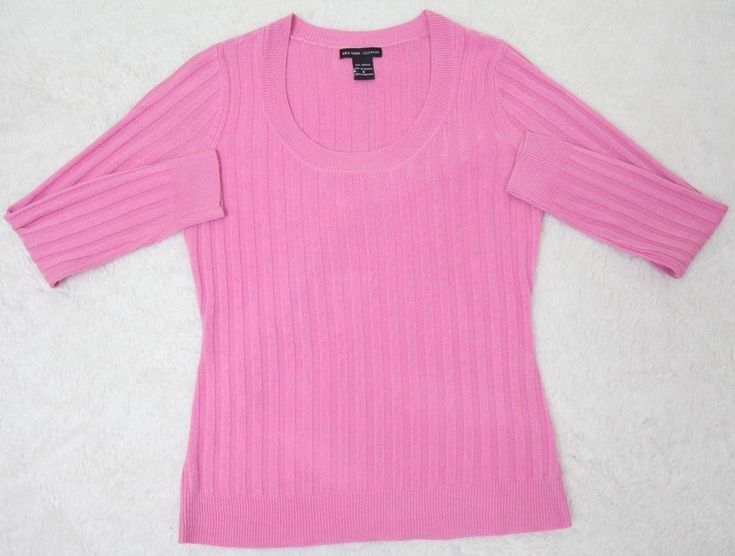 New York & Company Pink Acrylic Sweater Small Womens Solid Woman Long Sleeve #NewYorkCompany #Crewneck #any