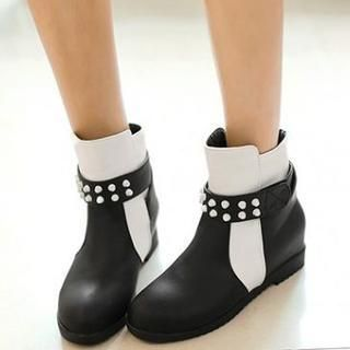 Faux-Leather Studded Panel Ankle Boots from #YesStyle <3 Pangmama YesStyle.co.uk