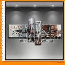 çerçeveli 4 panelleri 100% handpainted yüksek son büyük çağdaş yağlıboya tuval siyah beyaz ve kahverengi duvar sanatı- xd00393(China (Mainland))