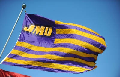 JMU flags proudly declare who tailgates there! Click to purchase this photo at the JMU Photo Store.