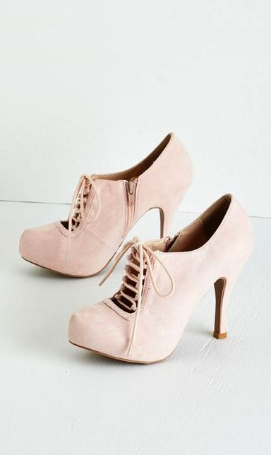 Blush lace up booties