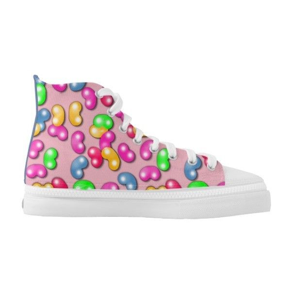 Jellybean Queen High Tops, Cotton Candy Pink High-Top Sneakers ($82) ❤ liked on Polyvore featuring shoes, sneakers, pink high top shoes, high top trainers, pink shoes, pink trainers and pink high tops