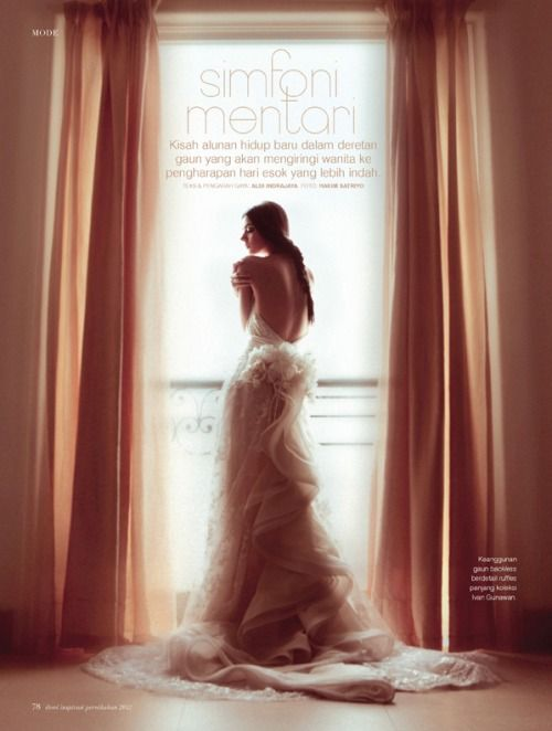 sexyqueen:  Symphony Of The Sun  Symphony of the Sun is performed in unison by divine Kamilla of Damn!inc, photographer Hakim Satriyo and stylist Aldi Indrajaya for the Dewi Wedding 2012 magazine.