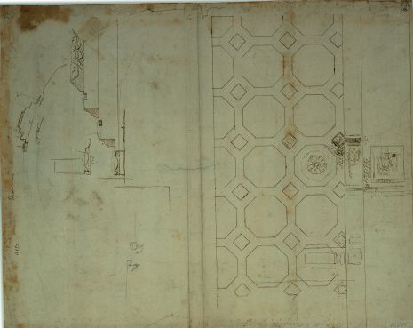Studies for the caisson/lacunar ceiling of the passageways connecting the nave and the aisle chapel of the St Peter's Basilica in Rome, by Cordini Antonio known as Antonio da Sangallo the Younger, 16th Century, brown ink