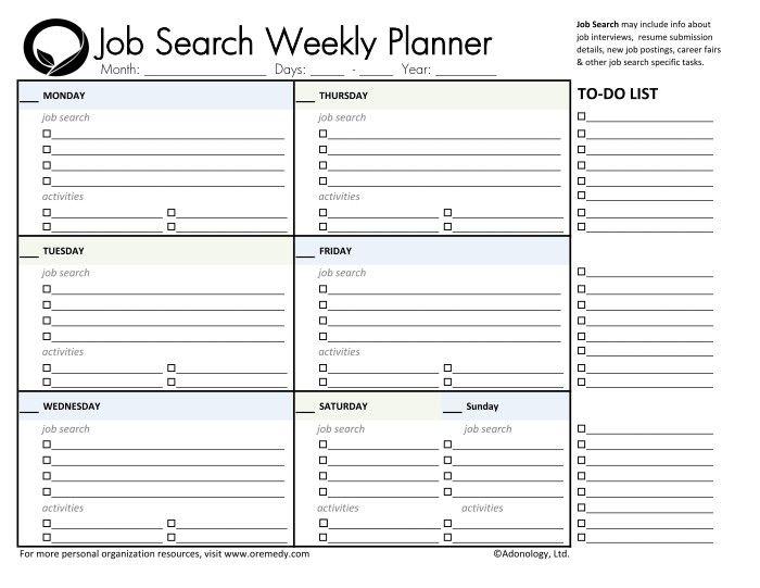 job search weekly planner printable