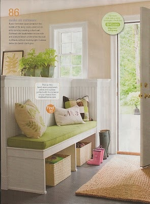 Creating a foyer in a small home with a half wall and of course, bead board. YUM