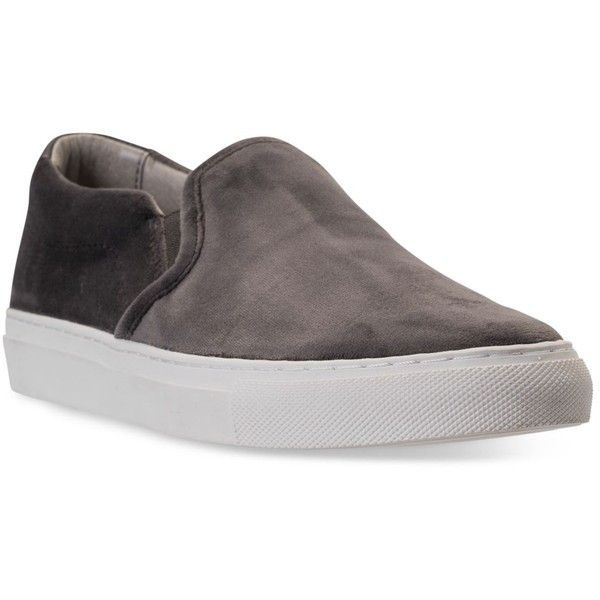 Skechers Women's Vaso Velvet Slip-On Casual Sneakers from Finish Line ($55) ❤ liked on Polyvore featuring shoes, sneakers, charcoal, skechers footwear, charcoal shoes, slip on trainers, skechers trainers and velvet slip on sneakers