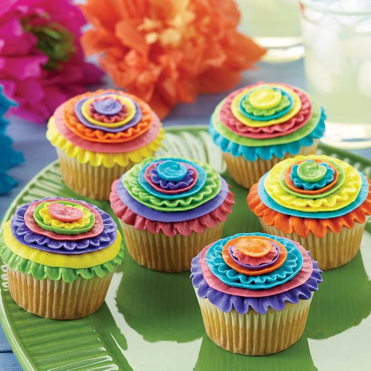 Bold color ribbons make these Cinco De Mayo Cupcakes the life of the party.
