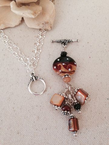 Orange and Black Beaded Dangle Necklace