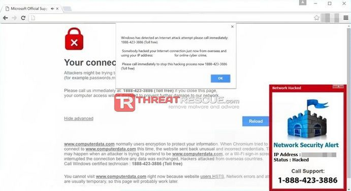 """Windows Has Detected An Internet Attack"" Fake Tech Alert"
