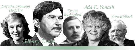 Collage: Dorothy Crowfoot Hodgkin, Henry Taube, Ernest Rutherford, Ada E. Yonath and Otto Wallach