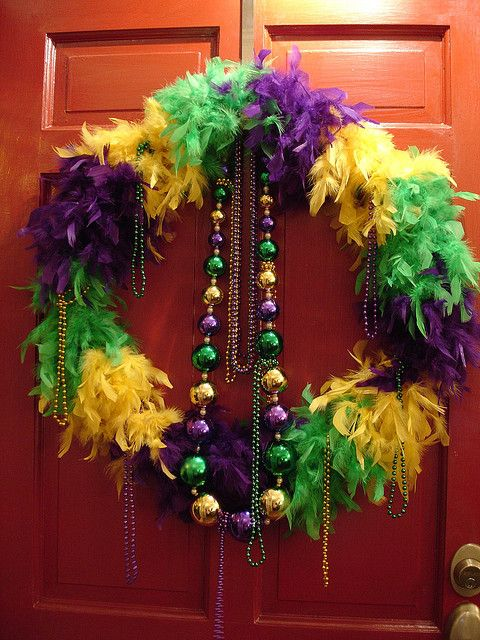 Mardi Gras Feather Wreath by Deep Fried Kudzu, via Flickr