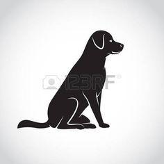 labrador negro: Vector de imagen de un perro labrador sobre fondo blanco Vectores