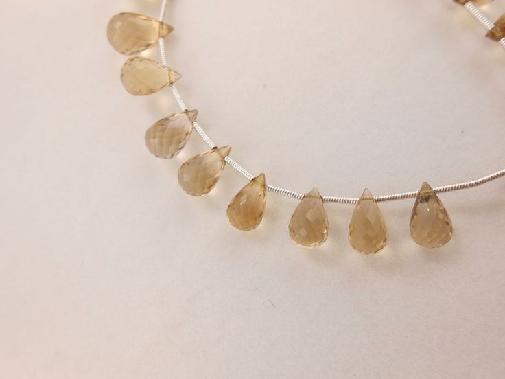 "Best AAA Beautiful Shampian Quartz Teardrop Briolette Faceted Gemstone Beads 7""  #GemstoneTopper #Faceted"