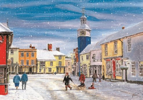 """Coggeshall. 125 x 175mm. £4.50.  All cards come in packs of 10.  Greeting in cards: """"With Best Wishes for Christmas and the New Year."""""""