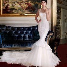 Vestido de noiva de Luxo Trem Da Capela Frisado Robe de mariage Lace Apliques Mermaid Vestido de Noiva 2017 Custom Made Vestidos alishoppbrasil