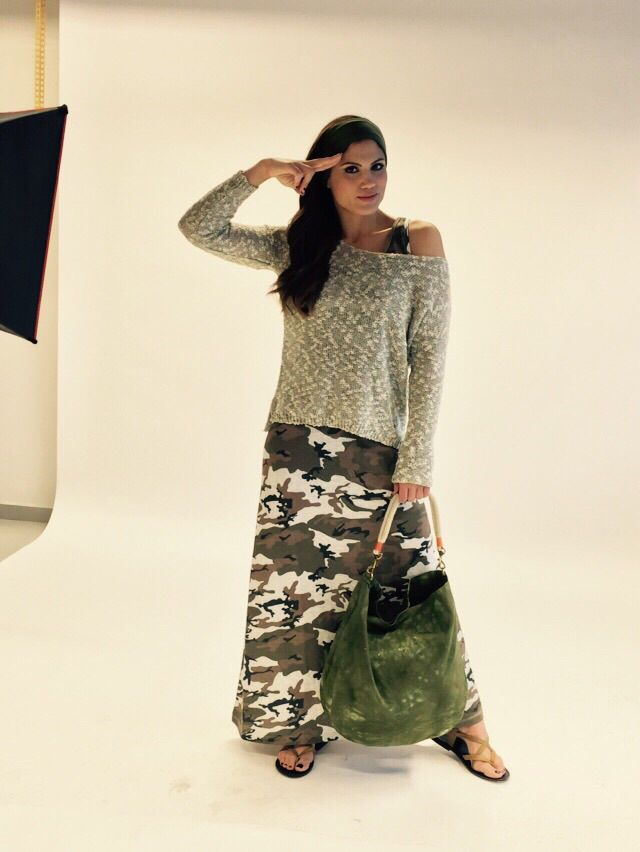 @mairiboo military look #bsb #military #long_dress #shoulder_bag