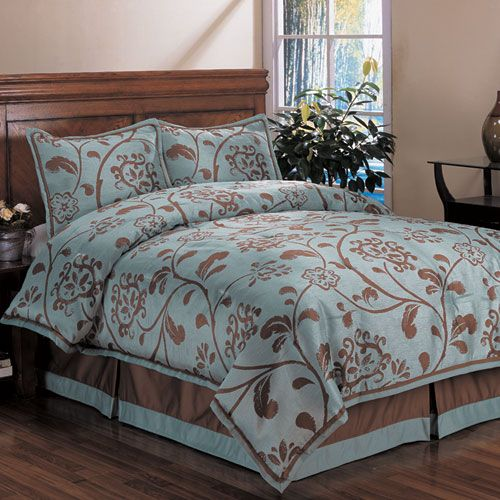 Bella Floral Duckegg Queen Bed Comforter Set Home Fashions International Comforter Set Com
