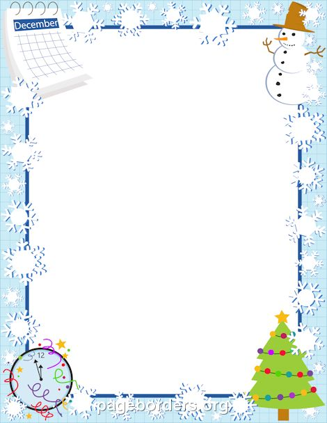 Printable December border. Use the border in Microsoft Word or other programs for creating flyers, invitations, and other printables. Free GIF, JPG, PDF, and PNG downloads at http://pageborders.org/download/december-border/