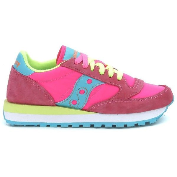 Sneaker Modello Jazz Original Woman in Camoscio E Tessuto Rosa Acceso ($92) ❤ liked on Polyvore featuring shoes, sneakers, rosa, womenshoessneakers, saucony sneakers, saucony shoes, saucony trainers, saucony and saucony footwear