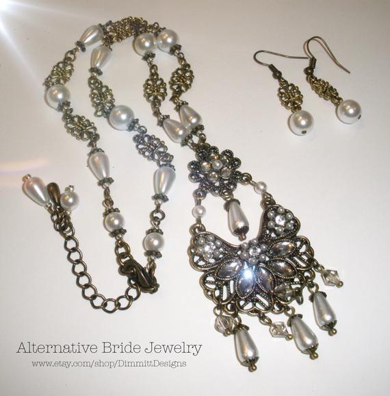 Alternative Bride Jewelry, Unique Bride Necklaces, Bohemian Bride Necklace, Antique Brass Pearl, Jewelry for the Bride, Boho Chic Bride Set – Dimmitt Designs Bridal Shoppe