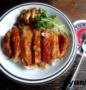 【簡単!!】おすすめです。豚ロース肉のガーリックバターしょうゆ丼