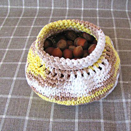 Кухня ручной работы. Ярмарка Мастеров - ручная работа. Купить Орешница корзинка вязаная крючком. Handmade. Бежевый, конфетница, из хлопка