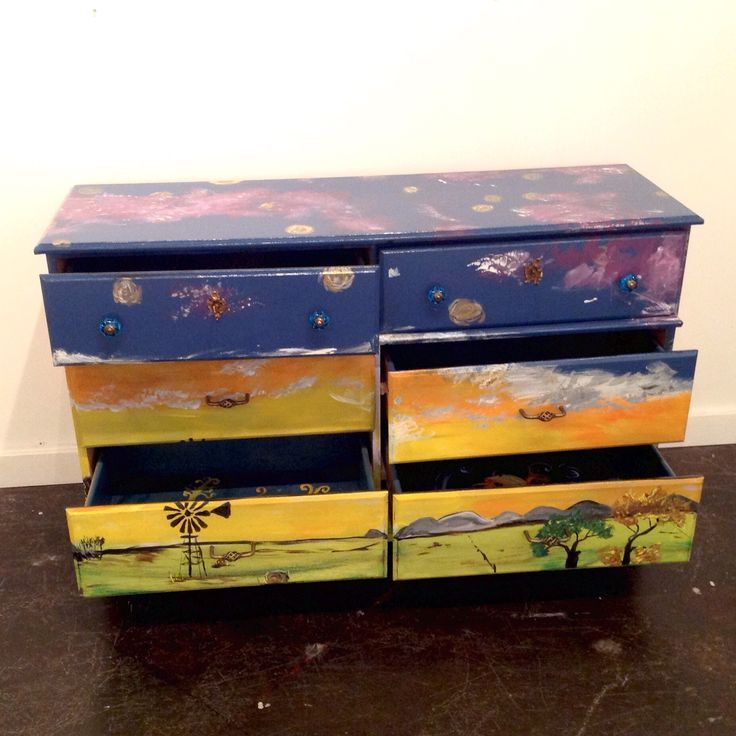 Stef Doyle's painted dresser 'Morning Prairie' is beautifully painted inside and out