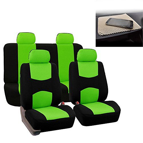 FH GROUP Bright Flat Cloth Full Set Car Seat Covers, Green / Black w. Free GIFT - Fit Most Car, Truck, Suv, or Van. For product info go to:  https://www.caraccessoriesonlinemarket.com/fh-group-bright-flat-cloth-full-set-car-seat-covers-green-black-w-free-gift-fit-most-car-truck-suv-or-van/
