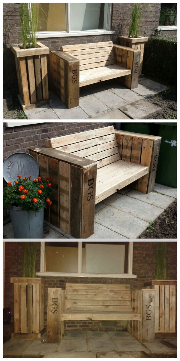 Lounge bench and two large planter boxes made of recycled pallet wood  #PalletBench, #PalletPlanter, #RecycledPallet