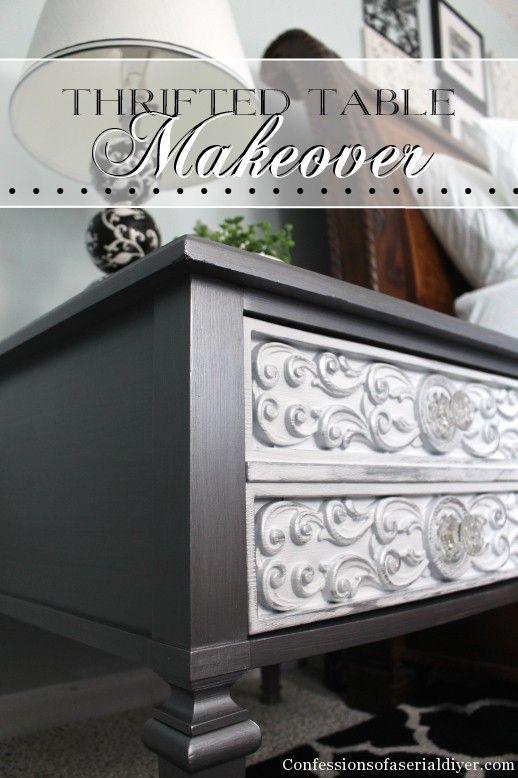 Thrift store table update with metallic paint!...glory box & wardrobe drawers