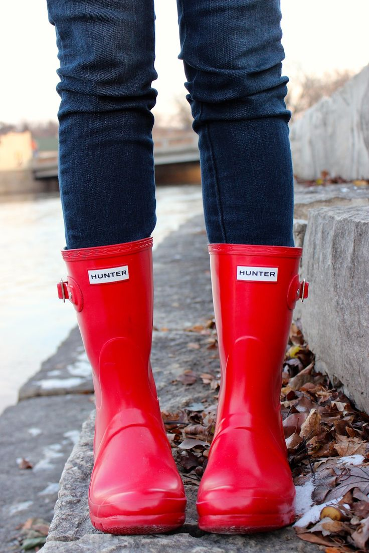 red hunters- perfect for slushy winter weather. Winter fashion 2014