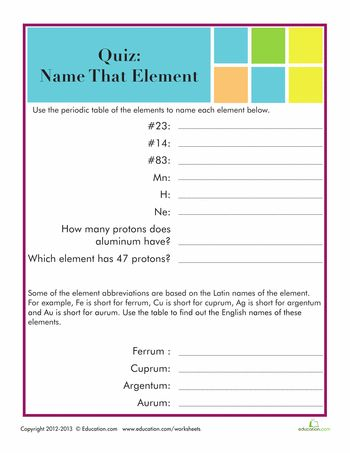 9 best CHEM images on Pinterest Physical science, Activities and - best of periodic table of elements handout
