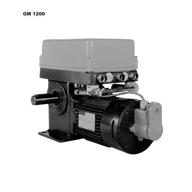 Beschreibung GM 1200 Getriebe:   Geräuscharmes, selbsthemmendes Schneckenradgetriebe, mit zwei freien Wellenenden, Schneckenrad aus Spezialbronze und Schnecke (Motorläufer) sind kugelgelagert und laufen im Ölbad. Die Endschalterwelle...