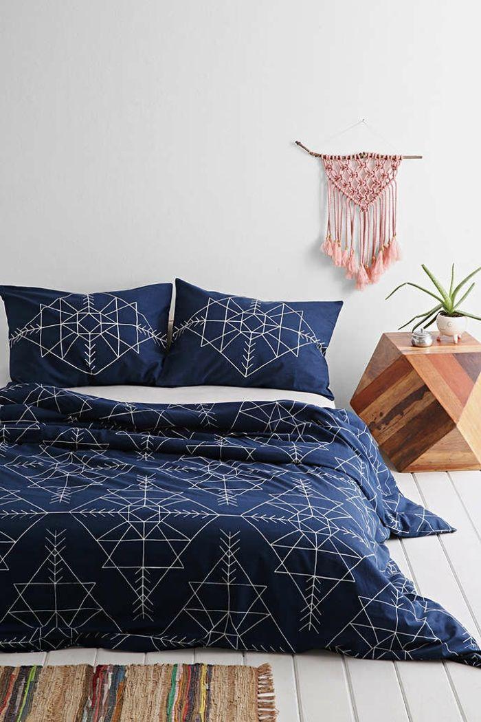 Parure de lit bicolore idée décoration chambre adulte