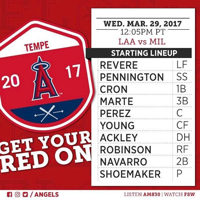 Matt Shoemaker will start the #Angels' final Cactus League game today against the Brewers.  -     Angels Photo Stream | MLB.com