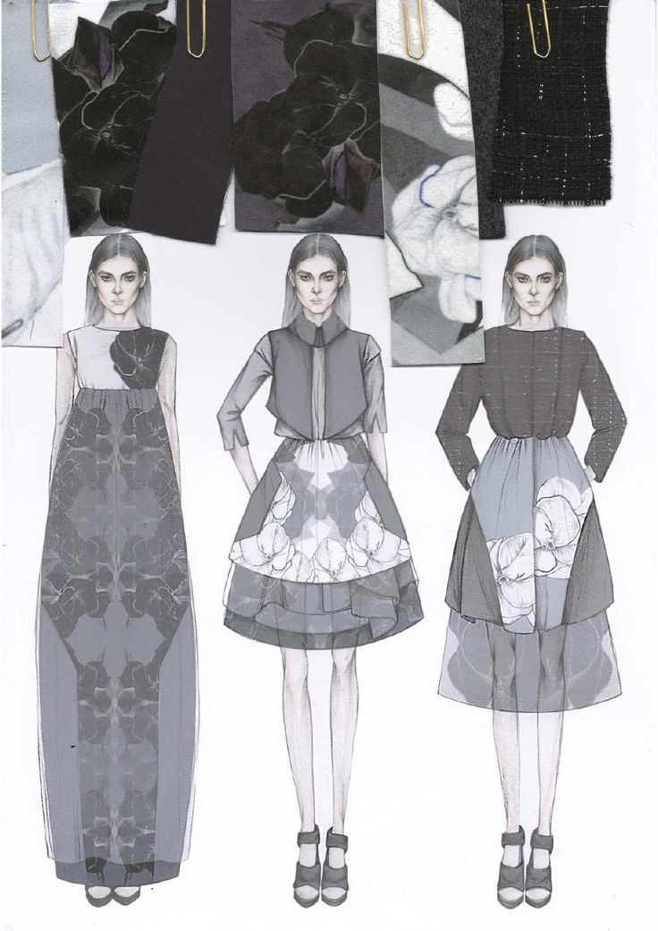 Fashion Design Sketchbook - printed dress design illustrations & fabric swatches; fashion portfolio // Emily-Mei Cross