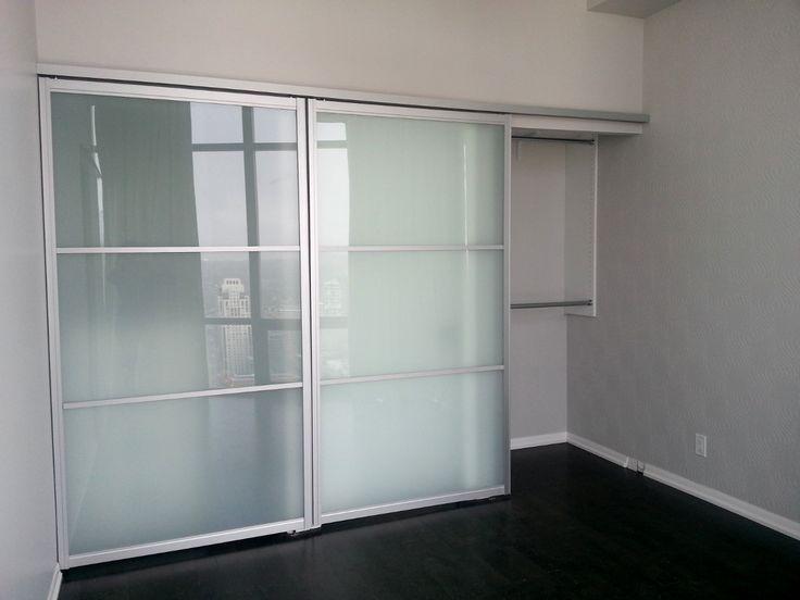 Modern Style Aluminium Top Hunging Dual Frosted Glass 3Panel Sliding Door  Combine Black Walnut Laminate Wood