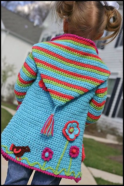 Crochet Springtime Friends Hoodie ~ I love this adorable sweater. The pattern is available on Ravelry.