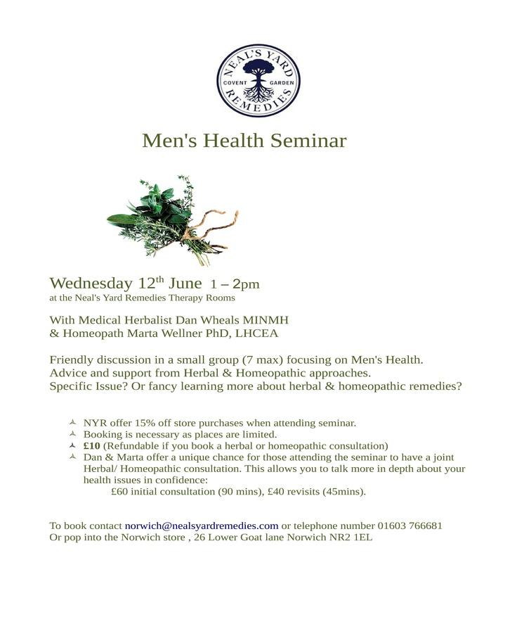 Men's Health event at Neal's Yard Remedies on Lower Goat Lane