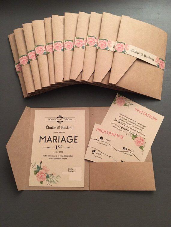 Faire-part mariage champêtre, papeterie bohème, pochette coupons, vintage, kraft