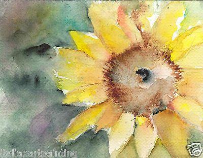 Acquerello-dipinto-a-mano-arredamento-casa-colori-alta-qualita-fiore-girasole