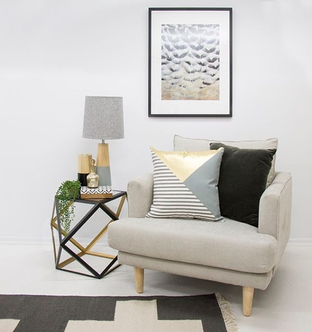 A stylish bit of gold can really finish off a room and give it that bit of luxury feel. Geometric side table $249.95, greenery $49.95, candle holder $29.95, gold bottle $19.95, pattern box $36.95, grey lamp $159.95, occasional chair $1134, dark @aurahome cushion $59.95, framed @designerboys art $548 and @aurahome hall runner $395.