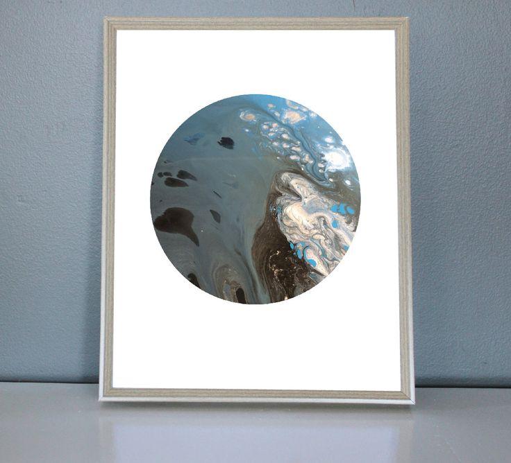 BLUE MOON -Blue, Silver, Black, White Moon/Planet Art Print 8X10, 11X14 by PrettyPaperPlaceShop on Etsy