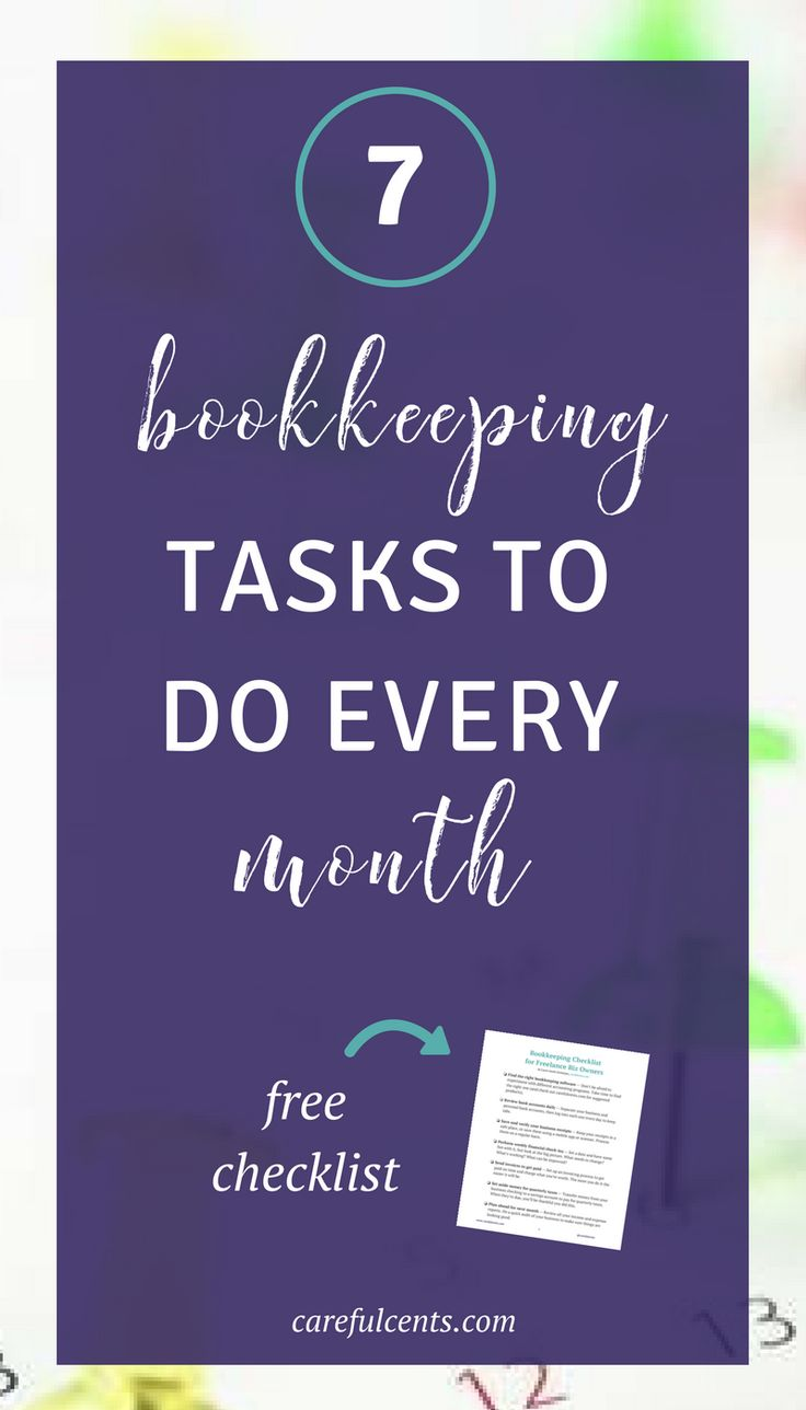 Bookkeeping for your small business shouldn't be complicated. There are 7 simple tasks you can do every month to stay organized and keep your finances running smoothly. Get the free bookkeeping checklist to get started!