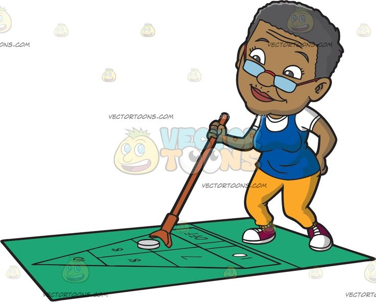 An Old Black Woman Playing Shuffleboard :  An old black woman with short dark gray hair wearing a pair of eyeglasses white shirt under a blue sleeveless top yellow orange pants red with white sneakers holding a brown stick in her right hand while playing shuffleboard on a green turf  The post An Old Black Woman Playing Shuffleboard appeared first on VectorToons.com.
