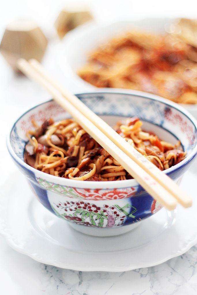 nouilles chinoises aux legumes et poulet au miel 5