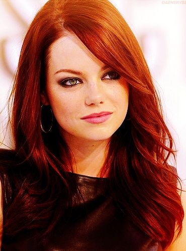 Emma Stone; I know that she's naturally a blonde, but she has a red head personality.  She's hilarious