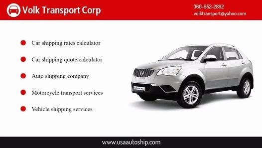 https://goo.gl/xo9N49 Calculate car shipping rates instantly. Our tool provides you with accurate estimates to ship your car anywhere. Volk Transport Corp has steadily fine tuned the car shipping rates calculator to make it even more reliable. We added several more variables to the vehicle shipping cost generator that makes it one of a kind, which is our secret recipe. Our goal is to provide the best rate for your vehicle and destination. Call Us Today (360) 952-2892.
